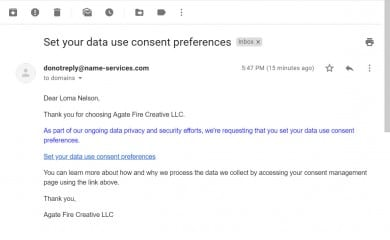 Set your data use consent preferences email
